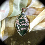 Ocean Jasper sterling silver pendant with inlaid bail