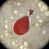 Carnelian sterling silver pendant with inlaid bail