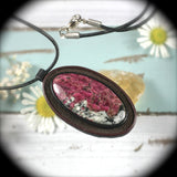 Eudialyte and leather pendant/necklace - Rusmineral cabochons&jewelry