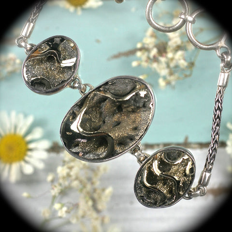 Pyritized ammonites sterling silver bracelet - Rusmineral cabochons&jewelry - 1