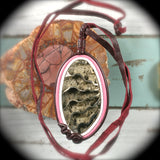 Pyritized ammonite fossil leather pendant - Rusmineral cabochons&jewelry - 1