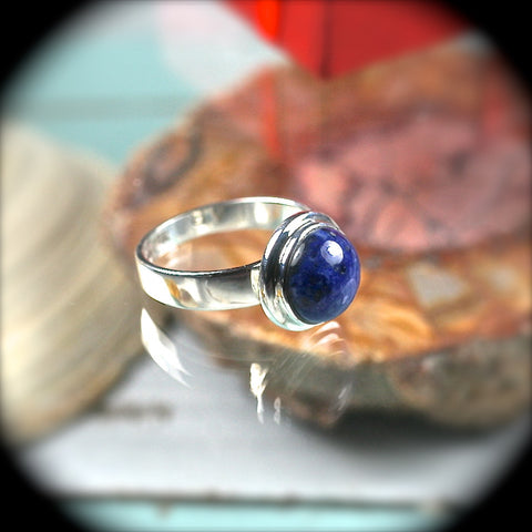 Dumortierite sterling silver ring - Rusmineral cabochons&jewelry - 1
