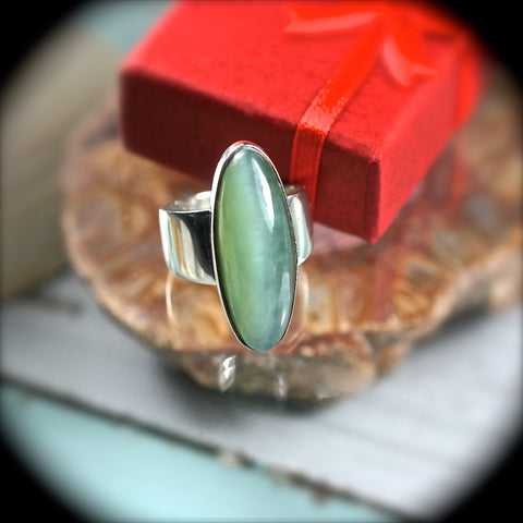 Siberian Cat Eye Nephrite Jade sterling silver ring - Rusmineral cabochons&jewelry - 1