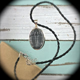 Trilobite Fossil sterling silver pendant - Rusmineral cabochons&jewelry - 4