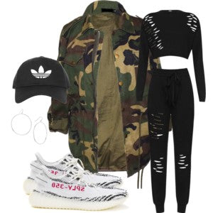 camouflage oversize boyfriend fit parka jacket yeezy sneakers adidas hat black distressed wearall lounge set