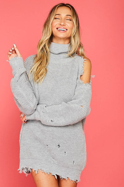 Destroyed Turtleneck Sweater with One Shoulder - Alyanna by Alexandra