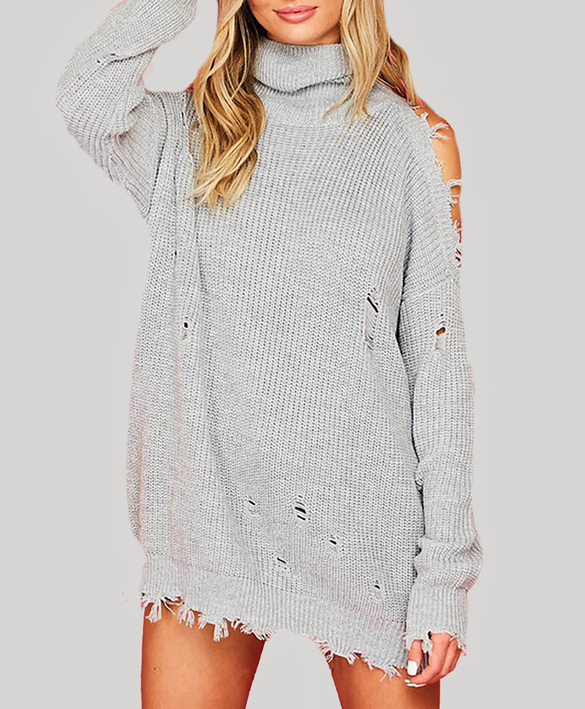 Destroyed Turtleneck Sweater with One Shoulder