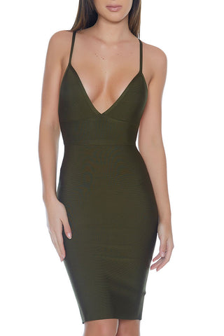 Paris Bandage Dress- OLIVE - Alyanna by Alexandra