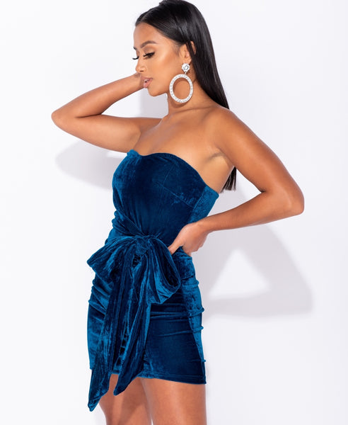 Velvet Bandeau Bow Tie Detail Bodycon Mini Dress - Alyanna by Alexandra