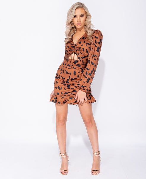 Abstract Leopard Cut Out Mini Dress - Alyanna by Alexandra