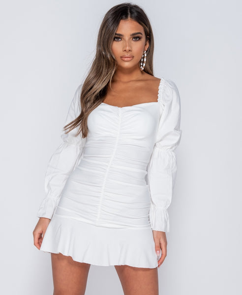 Ruching Detail Puff Sleeve Frill Hem Mini Dress - Alyanna by Alexandra
