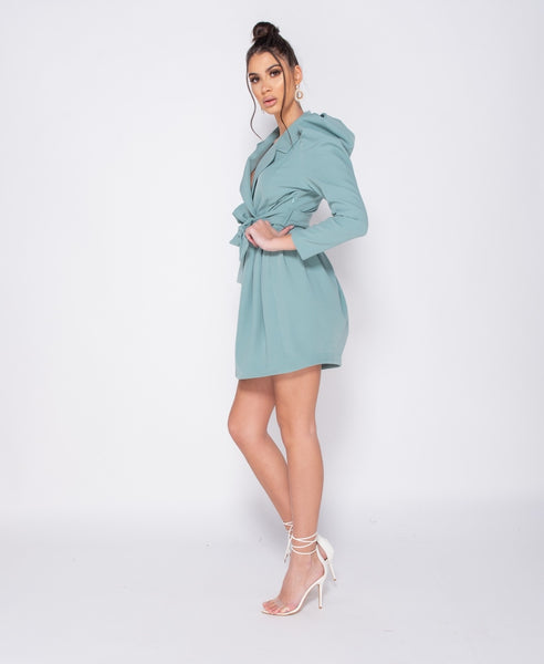 Puffed Sleeve Wrap Over Front Pleated Mini Dress - Alyanna by Alexandra