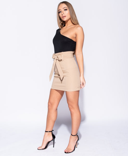 Paperbag Waist Self Belt Mini Skirt- TAUPE - Alyanna by Alexandra