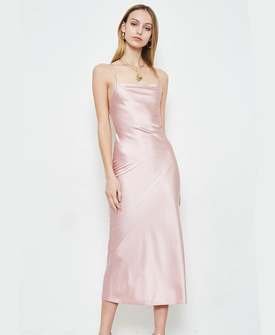 Woven Satin Open Back Midi Dress