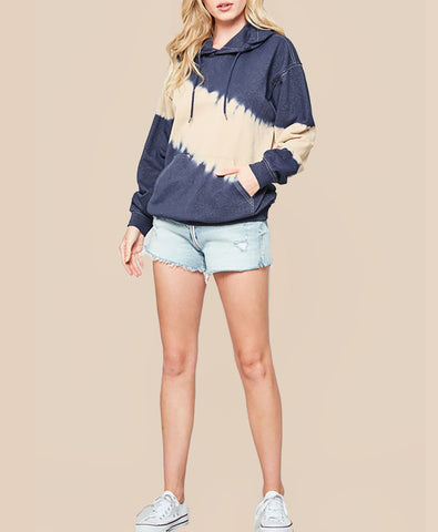 Tie-Dye Hoodie Sweatshirt with Kangaroo Pocket - Alyanna by Alexandra