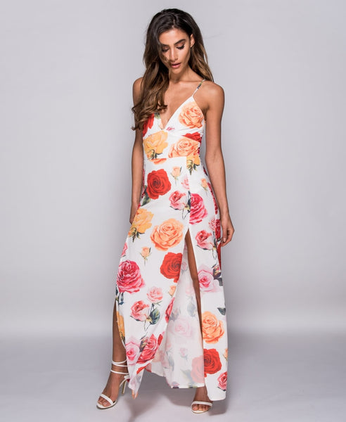Rose Floral Print Front Split Maxi Dress - Alyanna by Alexandra