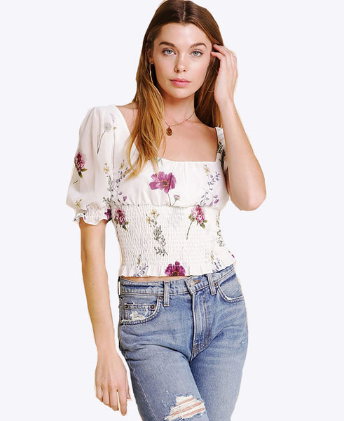 Vintage Floral Puff Sleeve Smocked Top - Alyanna by Alexandra
