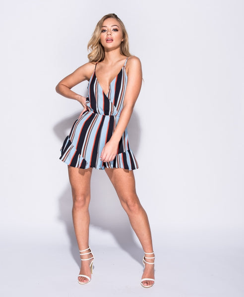 Blue Striped Wrap Front Playsuit - Alyanna by Alexandra