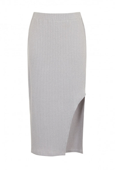 Light Grey Rib Knit Asymmetric Midi Skirt - Alyanna by Alexandra