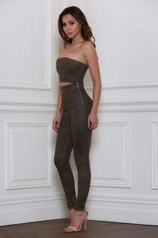 Rhythm and Suede Pants-Khaki - Alyanna by Alexandra
