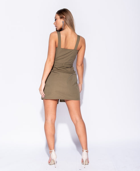 Button Trim Wrapover Front Mini Dress- KHAKI - Alyanna by Alexandra