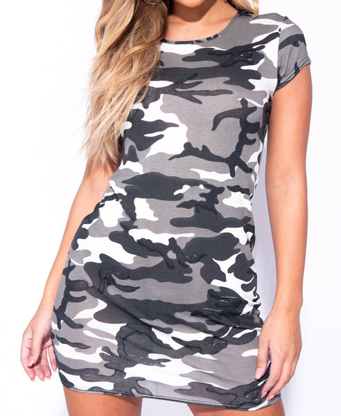 Camouflage Print Short Sleeve Bodycon Mini Dress - Alyanna by Alexandra