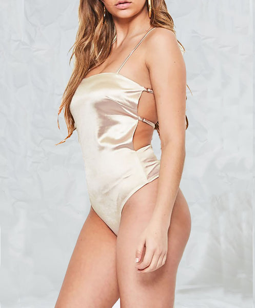 Open Back Satin Bodysuit - Alyanna by Alexandra