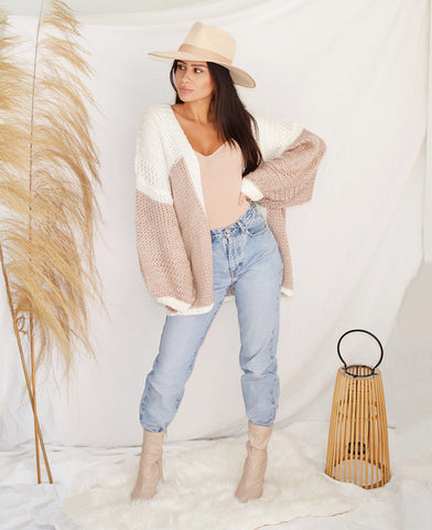 Open Front Chunky Knit Cardi