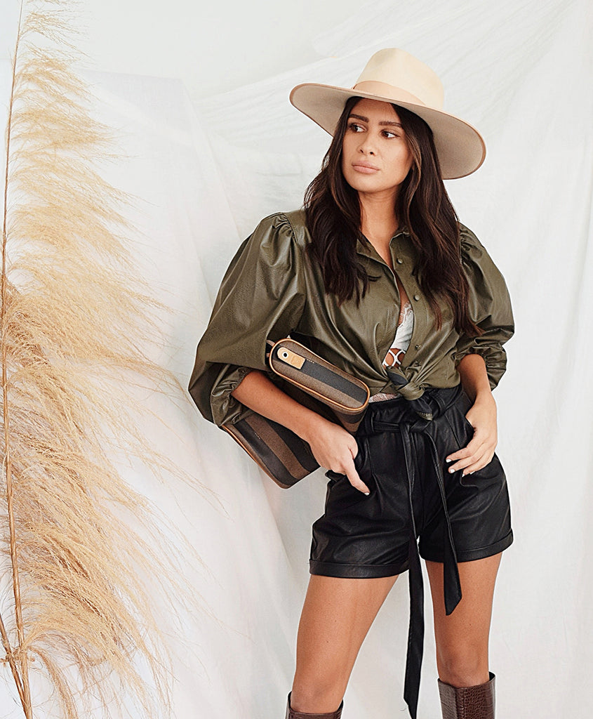 Faux Leather Button Up Shirt - Alyanna by Alexandra