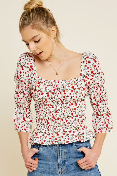 Floral Square Neck Smocked Top - Alyanna by Alexandra