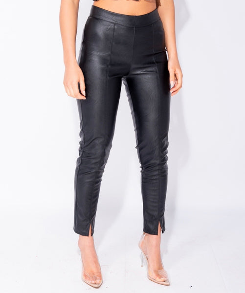 PU Split Front Wet Look Side Zip Trouser