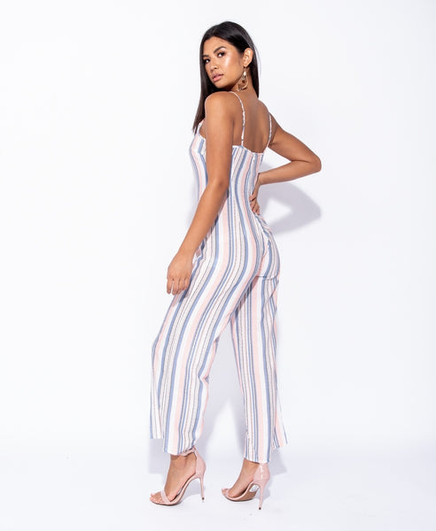Vertical Multi Stripe Cami Wide Leg Jumpsuit - Alyanna by Alexandra