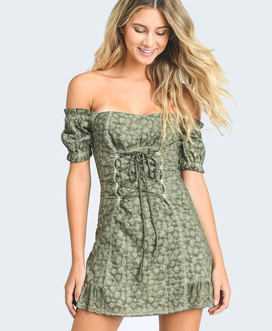 Off The Shoulder Eyelet Lace up Mini - Alyanna by Alexandra