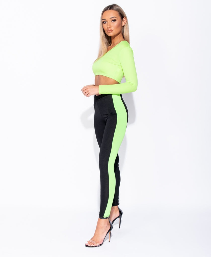 Side Stripe High Waist Leggings - Alyanna by Alexandra