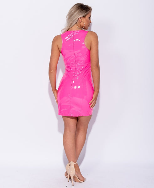 Wetlook PU Vinyl Neon Mini Dress - Alyanna by Alexandra