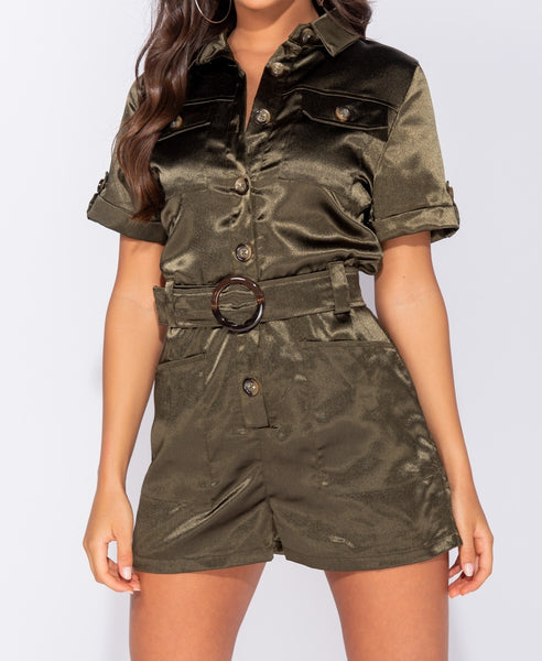 Satin Buckle Belt Playsuit - Alyanna by Alexandra