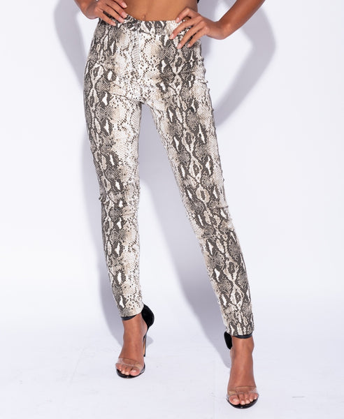Snake Print High Waist Jeggings - Alyanna by Alexandra