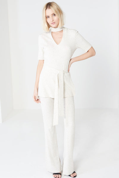 Natural White Peppered Rib Knit - Alyanna by Alexandra