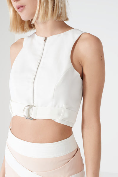 White D-ring Belt Crop - Alyanna by Alexandra