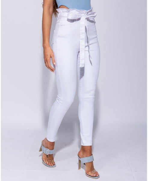 High Waisted Paperbag Waist Belted Skinny Jeans - Alyanna by Alexandra