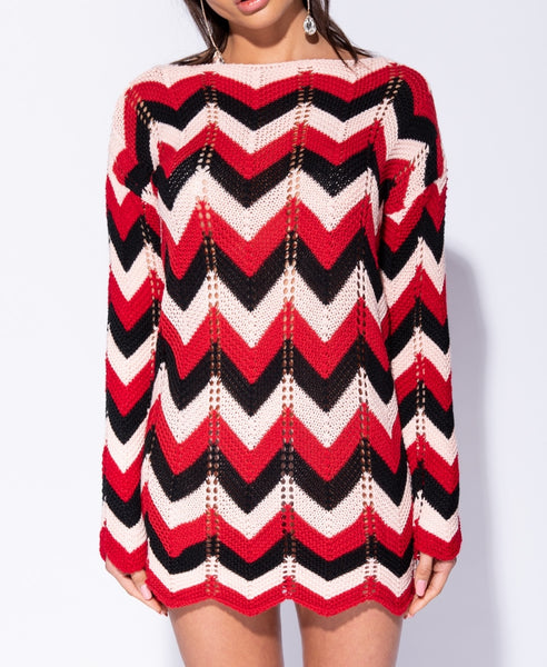 Zig Zag Pointelle Detail Jumper Dress - Alyanna by Alexandra