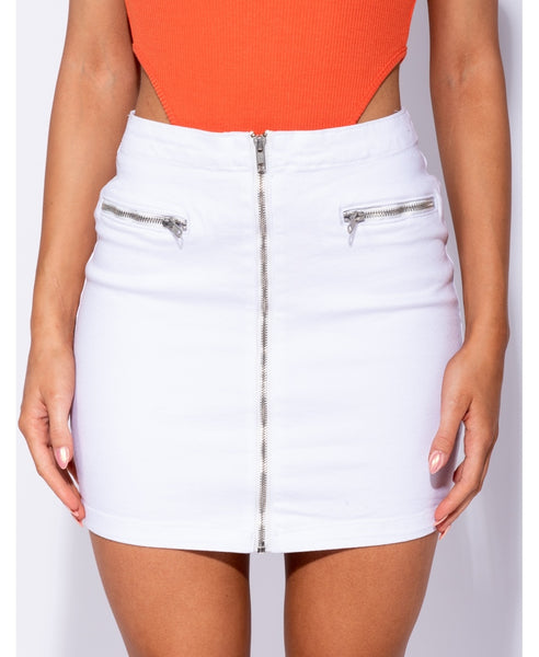 Denim Zip Front Mini Skirt - Alyanna by Alexandra