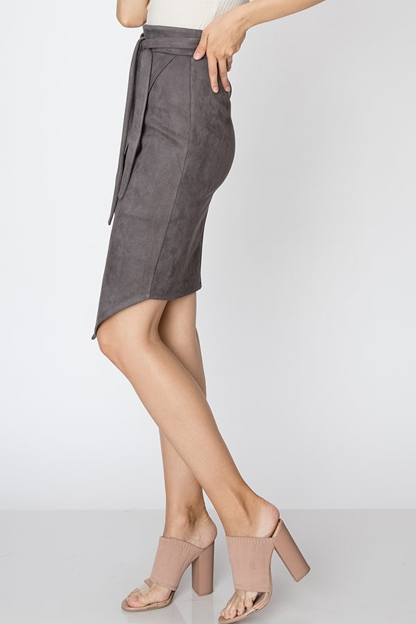 SUEDE SKIRT WITH WAIST TIE - Adore Fashion