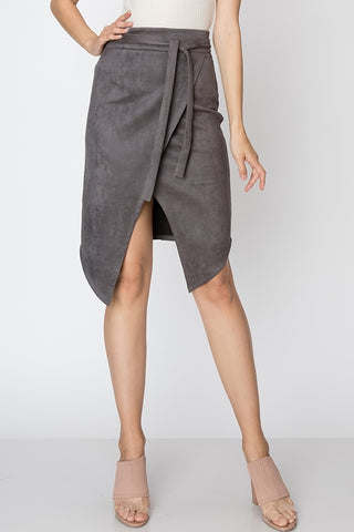 Solid Leather Midi Skirt