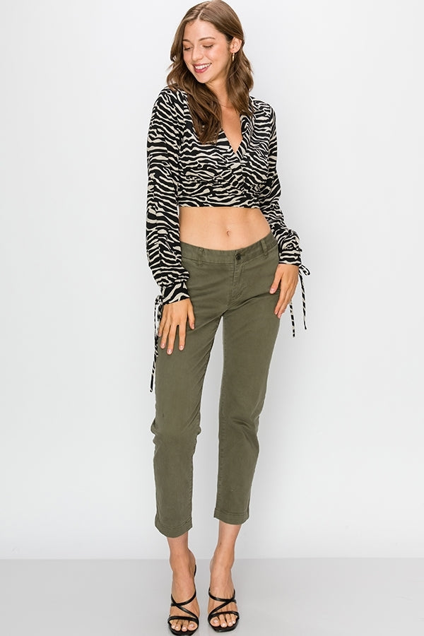 ZEBRA PRINT SURPLICE CROP TOP