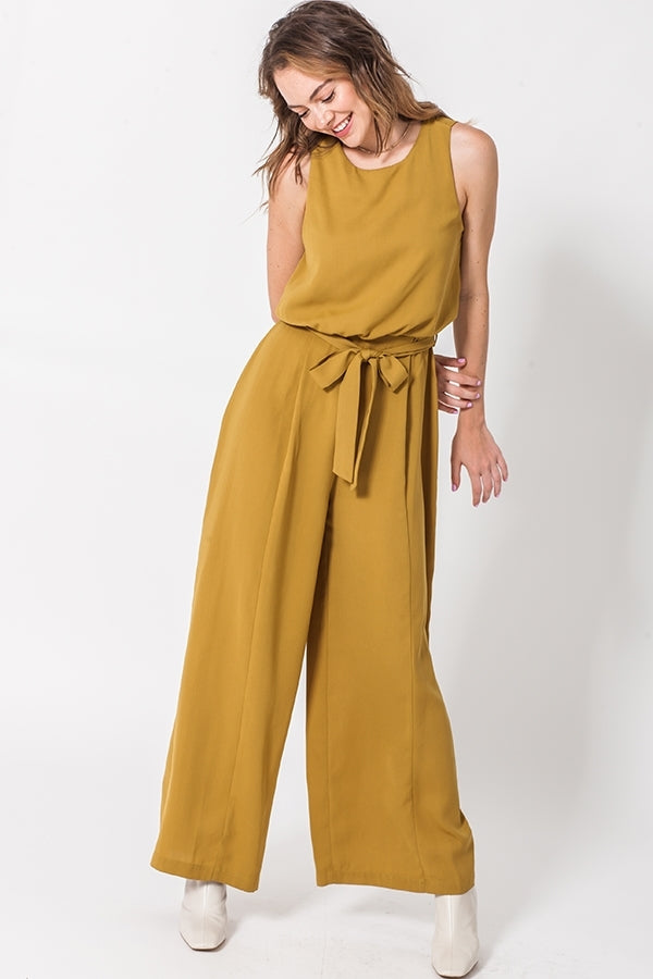 SLEEVELESS JUMPSUIT WITH WAIST TIE - Adore Fashion