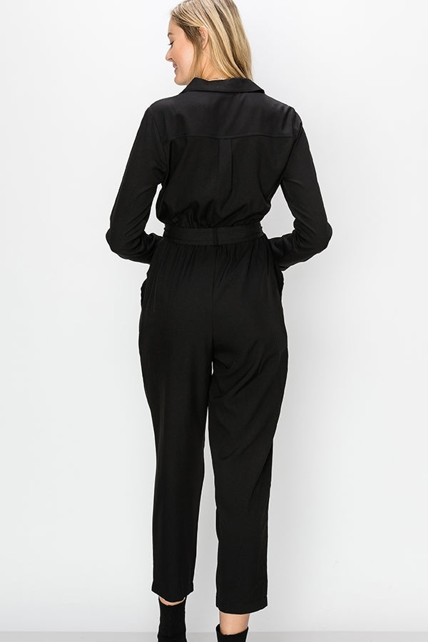 BUTTON UP LONG SLEEVE JUMPSUIT - Adore Fashion