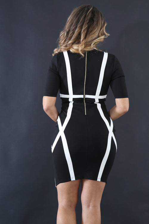 Misty Black & White Dress - Adore Fashion