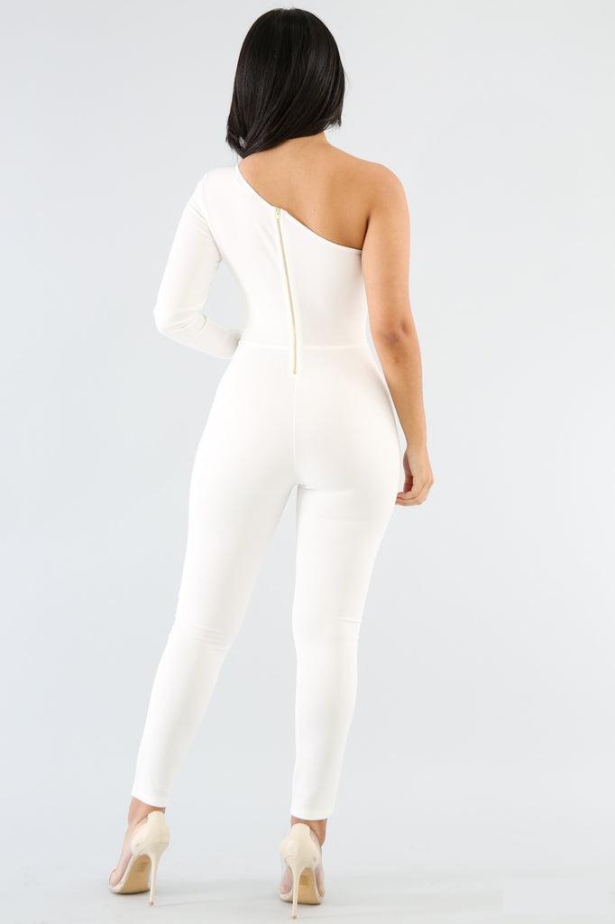 One Shoulder Cut Out Jumpsuit - Adore Fashion