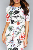 Round neck floral print dress - Adore Fashion